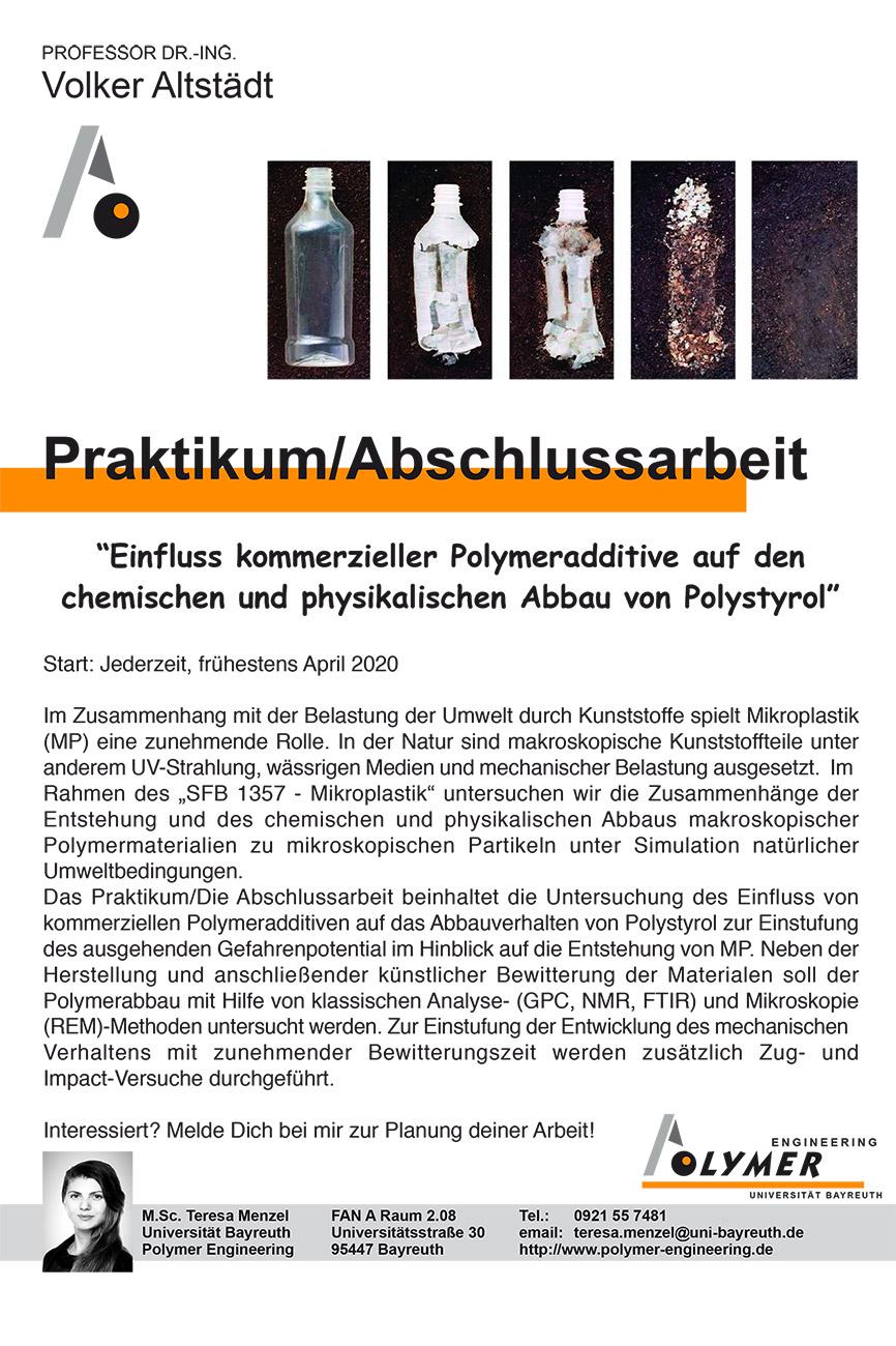 Thema für Abschlussarbeit und Praktikum | Polymer Engineering Bayreuth